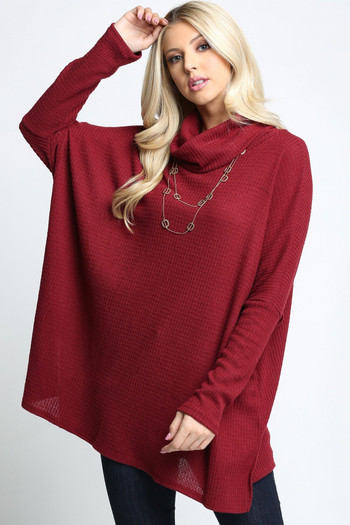 Burgundy Wholesale Waffle Knit Cowl Neck Dolman Sleeve Plus Size Top