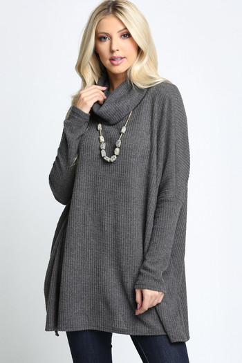 Charcoal Wholesale Waffle Knit Cowl Neck Dolman Sleeve Top