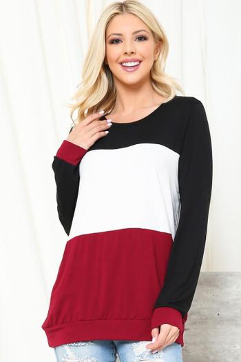 Black Wholesale Color Blocked Long Sleeve Top