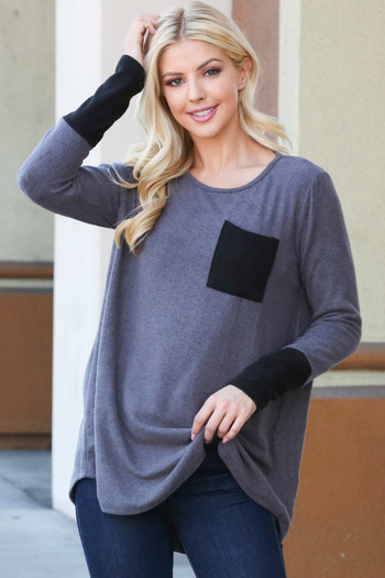 Grey Wholesale Contrast Cuff Long Sleeve Top with Front Pocket