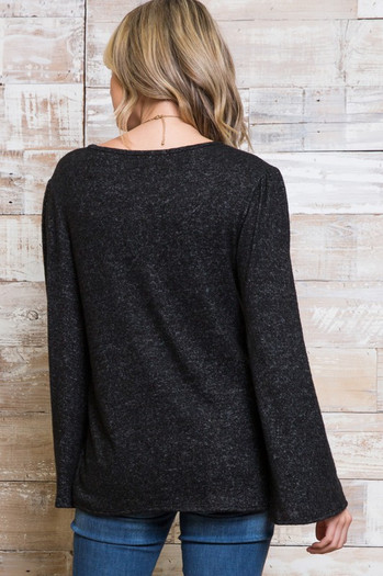 Wholesale Marled Bell Sleeve V Neck Plus Size Top