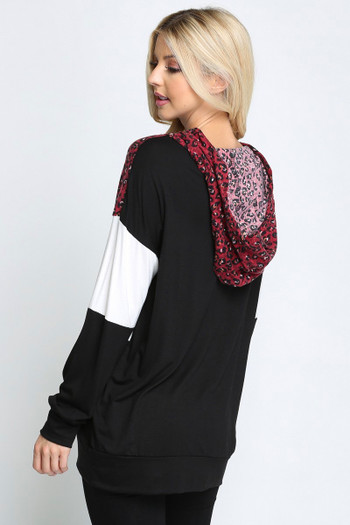 Wine Wholesale Leopard Accent Color Blocked Hooded Long Sleeve Top
