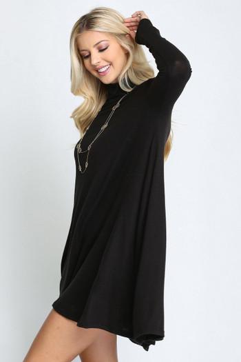 Black Wholesale Long Sleeve Hacci Knit Mock Neck Plus Size Swing Dress