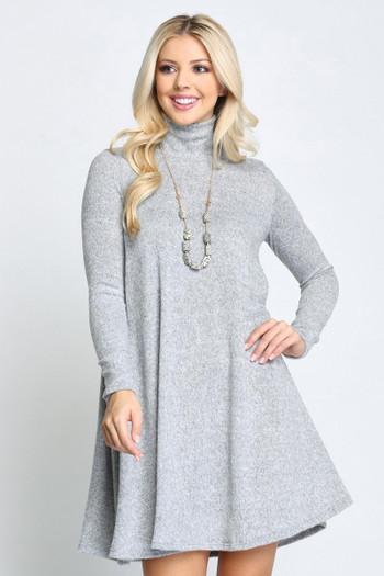 Heather Grey Wholesale Long Sleeve Hacci Knit Mock Neck Swing Dress