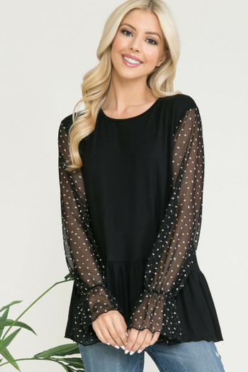 Black Wholesale Speckled Mesh Sleeve Pleated Hem Bell Cuff Top
