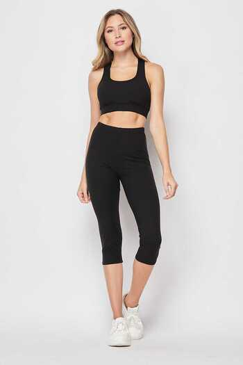 Wholesale Buttery Soft Basic Solid Capri and Crop Top Set