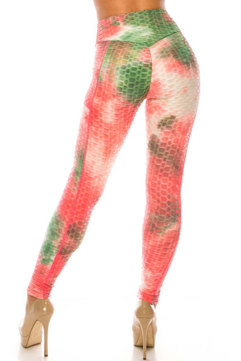 Wholesale Premium Coral Olive Tie Dye Scrunch Butt Workout Leggings with Side Pockets