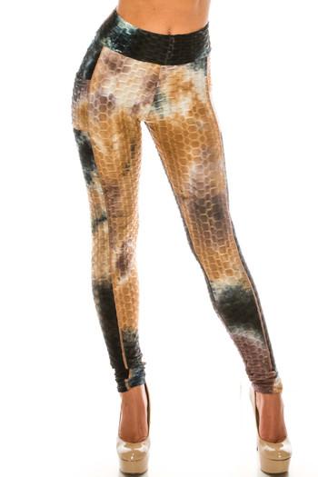 Wholesale Premium Earthen Mocha Tie Dye Scrunch Butt Workout Leggings with Side Pockets