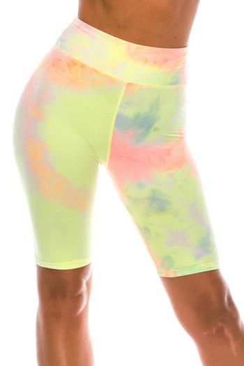 Wholesale Buttery Soft Pastel Tie Dye High Waisted Plus Size Biker Shorts - 3 Inch Waist