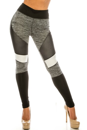 Wholesale Heather Gray High Waisted Color Block Workout Leggings