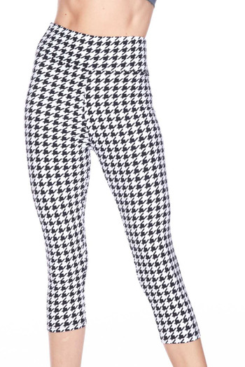 Wholesale Buttery Soft Houndstooth Plus Size Capris - 3 Inch Waist Band