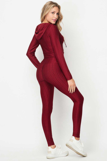 Wholesale 2 Piece Scrunch Butt Leggings and Cropped Hooded Jacket Set with Zipper