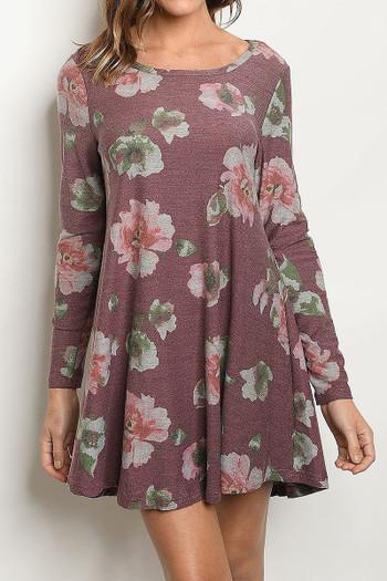 Wholesale Long Sleeve Vintage Floral Round Neck Mini Dress
