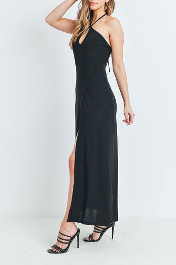 Wholesale Black Front Slit Keyhole Halter Neck Maxi Dress