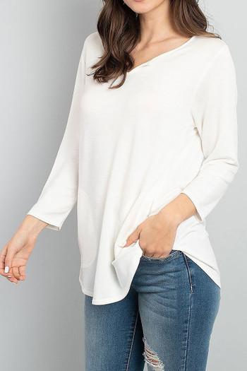 Ivory Wholesale Split Neck Round Hem Long Sleeve Tunic with Pockets