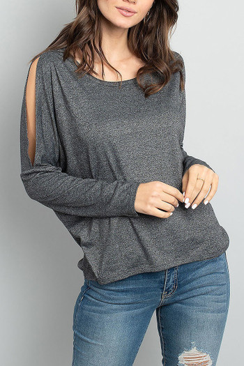 Wholesale Split Shoulder Marled Long Sleeve Top