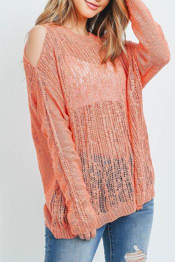 Coral Wholesale Sheer Crochet Detail Cold Shoulder Sweater