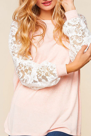 Blush Wholesale Lace Balloon Sleeve Pastel Contrast Top