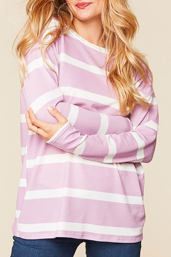 Wholesale Long Sleeve Lilac and White Striped Round Neck Plus Size Top