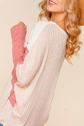 Wholesale Angular Color Block Rib Knit Plus Size Dolman Sleeve Top