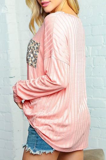 Wholesale Peach Leopard Accent Pocket Long Sleeve V-Neck Rib Knit Top