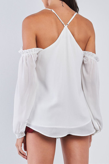 Wholesale White Off the Shoulder Bubble Sleeve V-Neck Top