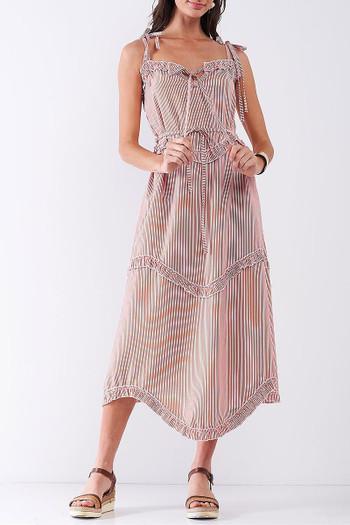 Orange Wholesale Ruffle Accent Striped Tie String Wavy Hem Rayon Midi Dress
