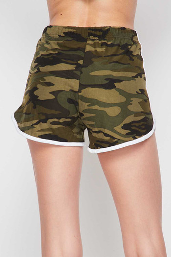 Wholesale Buttery Soft Green Camouflage Plus Size Dolphin Shorts