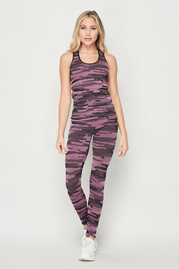 Wholesale 2 Piece Seamless Pink Camouflage Tank Top and Legging Set