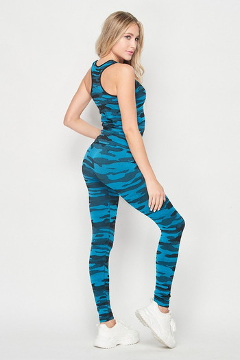 Wholesale 2 Piece Seamless Teal Camouflage Tank Top and Legging Set
