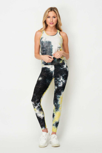 Wholesale 2 Piece Black and Yellow Tie Dye Scrunch Butt Sport Leggings and Tank Top Set