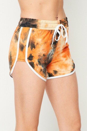 Wholesale Buttery Soft Orange Tie Dye Side Striped Drawstring Waist Dolphin Shorts