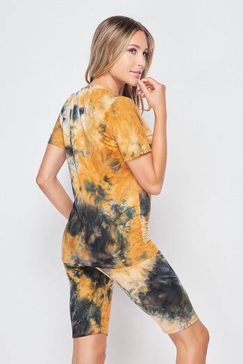 Wholesale 2 Piece Buttery Soft Camel Tie Dye Biker Shorts and T-Shirt Set - Plus Size