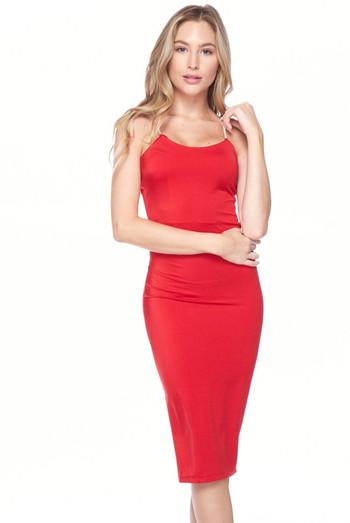 Red Wholesale Crystal Spaghetti Strap Satin Bodycon Midi Dress