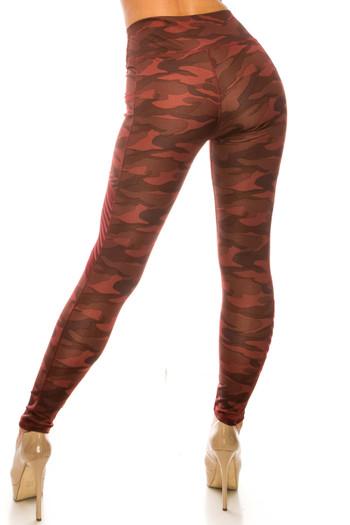 Wholesale Burgundy Camouflage Serrated Mesh High Waisted Sport Leggings