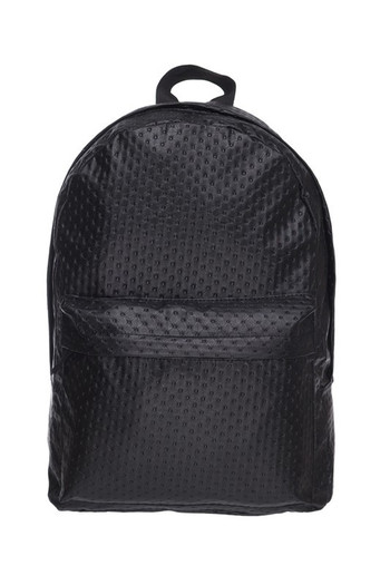 Wholesale Black Perforated Faux Leather Backpack