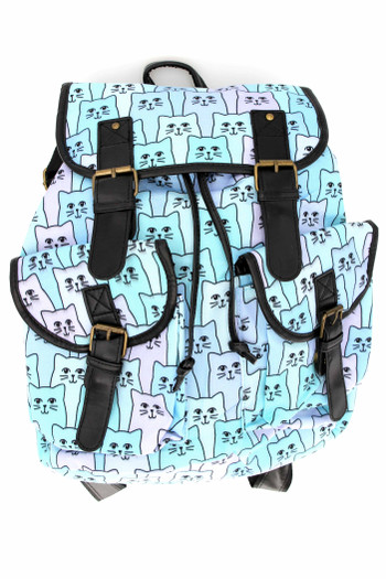 Wholesale Blue Kitty Cats Graphic Print Buckle Flap Backpack
