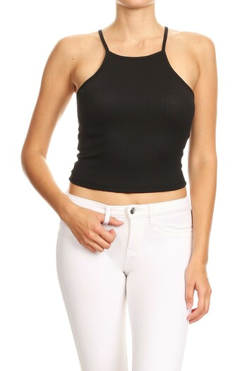 Wholesale Solid Basic Thermal Spaghetti Strap  Racerback Top