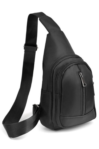Wholesale Black Nylon Crossbody Sling Bag with 3 Front Zipper Compartments