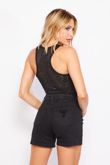 Wholesale Black Leopard Mesh Accented Bodysuit