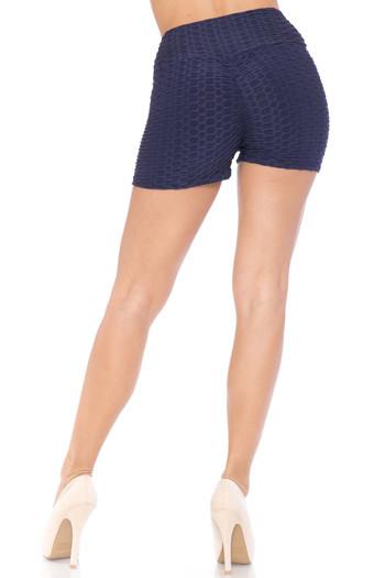 Navy Wholesale Solid Textured Scrunch Butt Sport Shorts