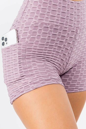 Light Purple Wholesale Solid Textured Scrunch Butt Sport Shorts with Pockets