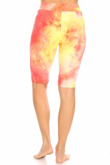 Coral Wholesale Brushed Tie Dye High Waisted Biker Shorts