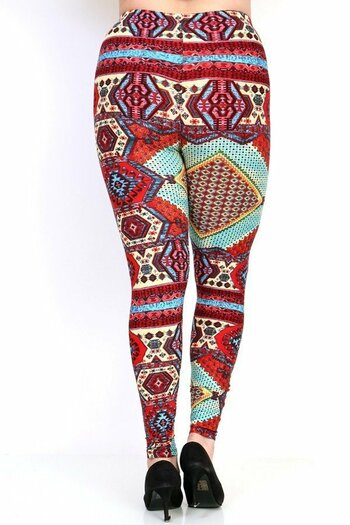 Wholesale Buttery Soft Red Tribal Patch Plus Size Leggings