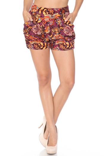 Wholesale Buttery Soft Summer Floral Mezzanine Harem Shorts