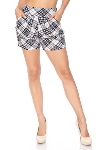 Wholesale Buttery Soft Contour Ivory Angled Plaid Harem Shorts