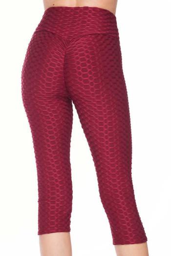 Wholesale Scrunch Butt Textured High Waisted Plus Size Capris