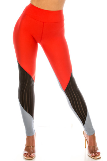 Wholesale Red Wave Mesh High Waisted Sport Leggings