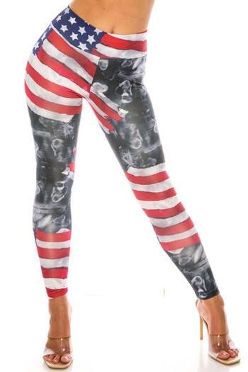 Wholesale Painted USA Flag High Waisted Sport Leggings