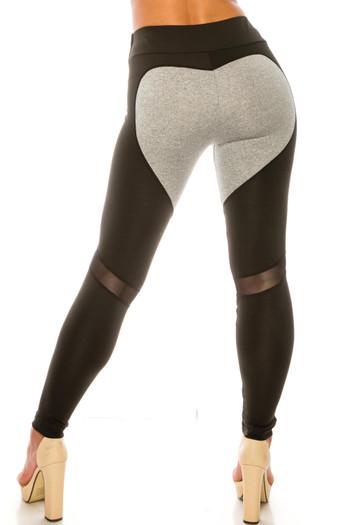 Wholesale Heather Gray on Black Contrast Heart High Waisted Sport Leggings